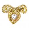 Motif Beaded 7.5cmx6cm Heart Shape 1Pc Gold Aurora Borealis